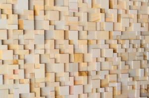 Revestimento de Arenito Mosaico Relevo Amarelo Liso em Tela