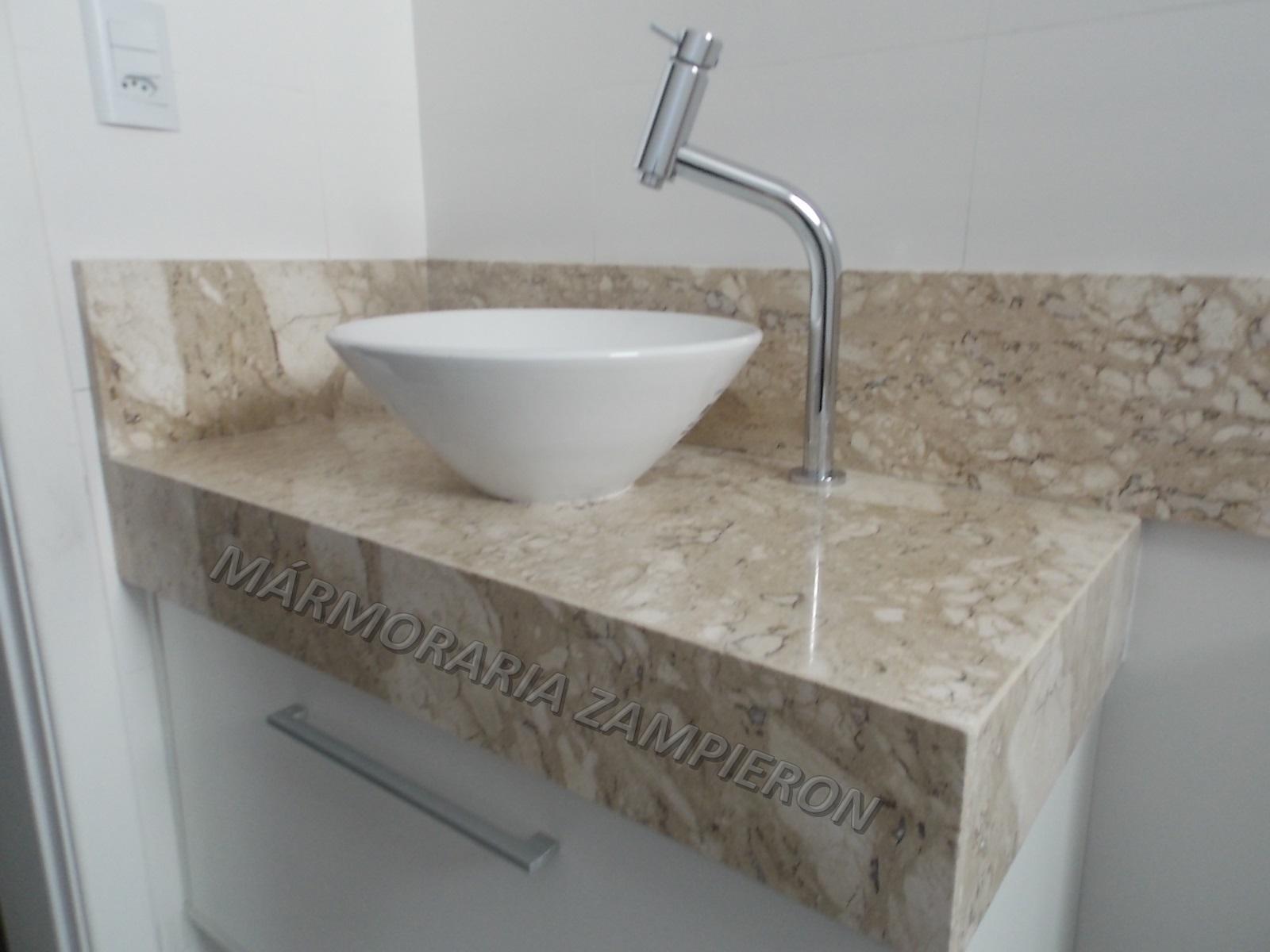 Lavatório em Mármore Travertino  Mármores e Granitos Zampieron -> Pia De Banheiro Aqualux